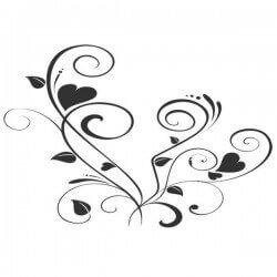Vinilo de pared flores corazones