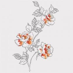 Vinilo para armarios floral naranja