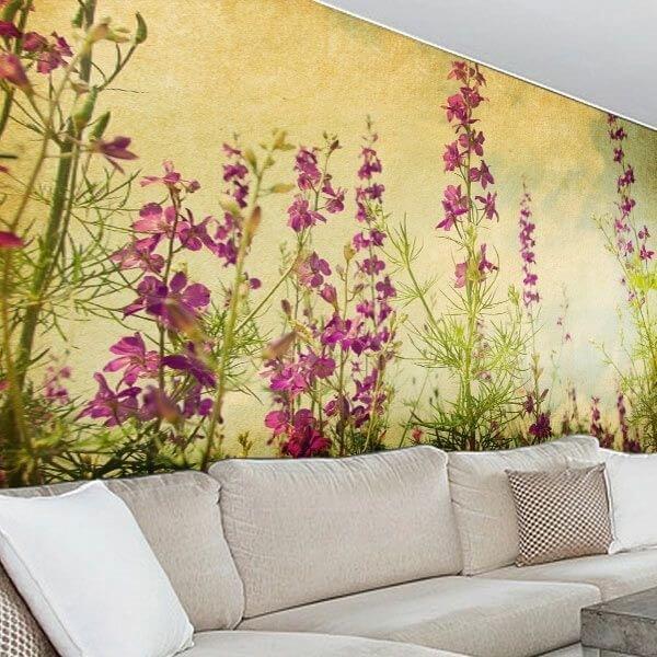 Mural campo con flores