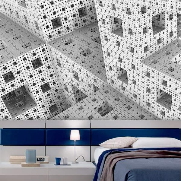 Mural en vinilo cubos 3D