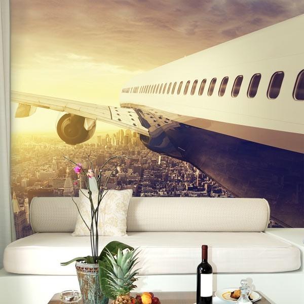 Fotomural avión sobre NY