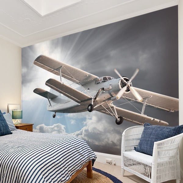 Mural de pared avioneta