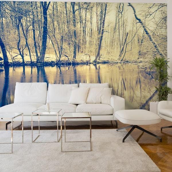 Mural de pared reflejo en el río