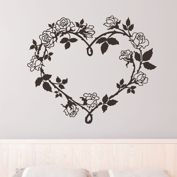 Adhesivo corazón de flores