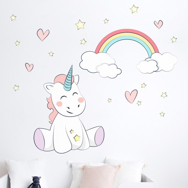 Vinilo unicornio y arco iris adhesivos decorativos - Adhesivos para pared infantiles ...