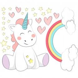 Vinilo unicornio y arco iris