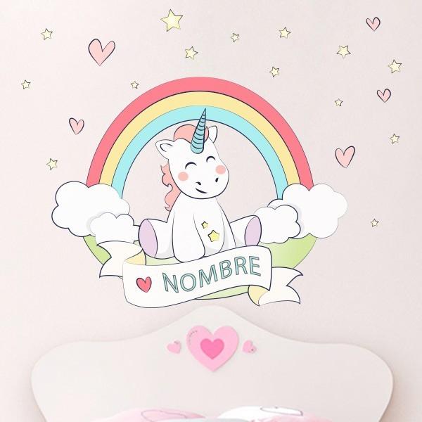 Adhesivo personalizado unicornio