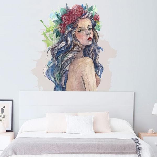 Adhesivo mujer con flores