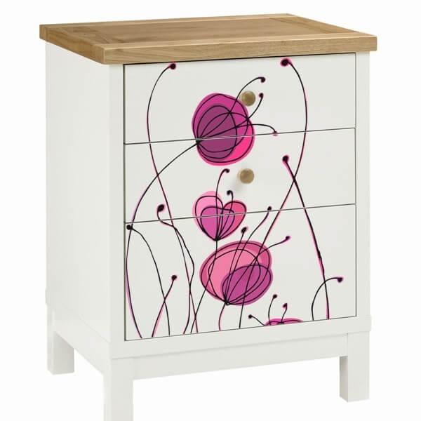 Vinilo floral colorido adhesivos para muebles - Vinilos decorativos para muebles ...