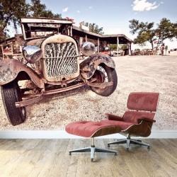 Mural de pared viejo coche