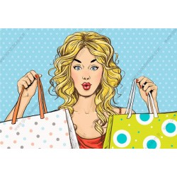 Fotomural chica de compras