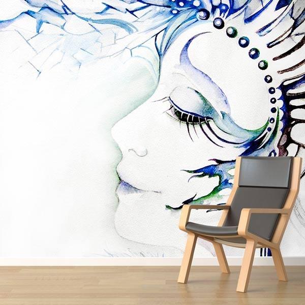 Mural ilustración mujer azul