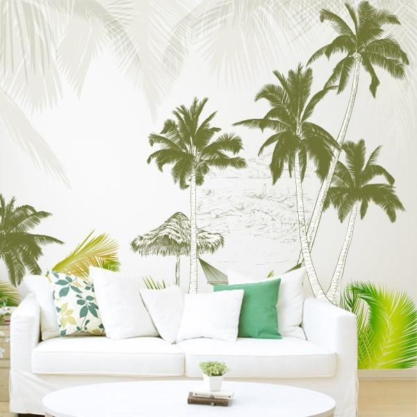 Fotomural palmeras ilustradas