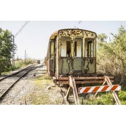 Mural en vinilo tren abandonado