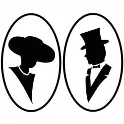 Pegatina dama y caballero