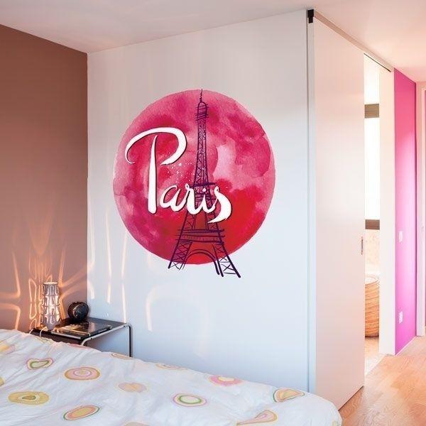 Adhesivo París luna roja