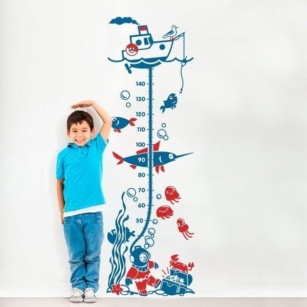 Vinilo medidor infantil fondo marino