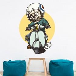 Vinilo esqueleto en una moto