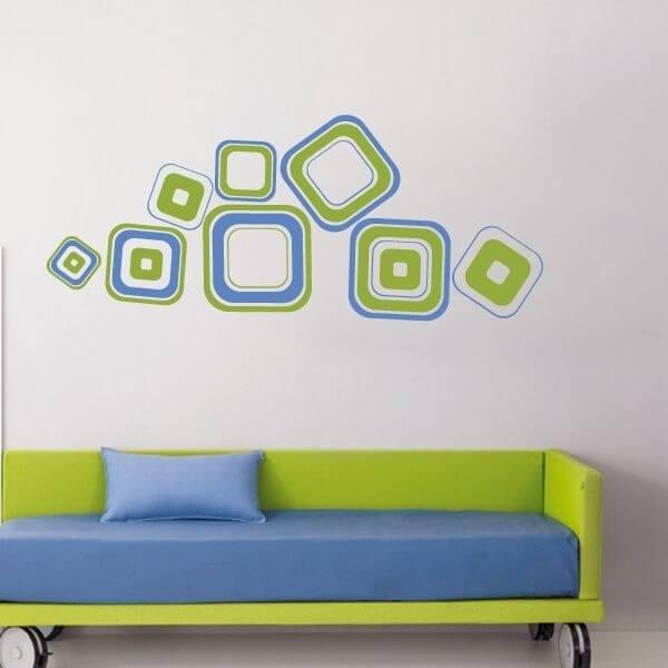 Adhesivo de pared con cuadrados