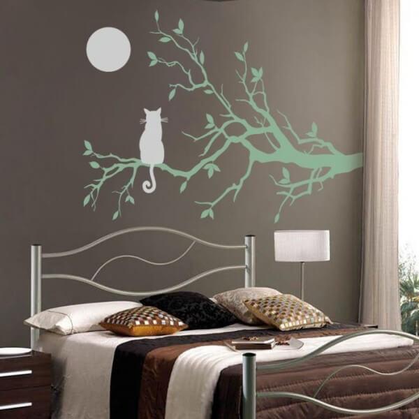 Vinilo de gato mirando luna