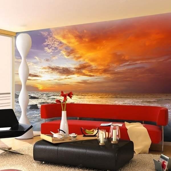 Paisaje de atardecer vinilos decorativos fotomurales y for Fotomurales pared paisajes