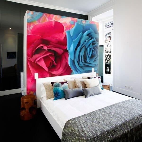 Mural de pared dos rosas