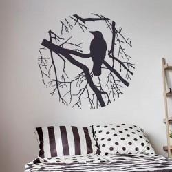 Vinilo circulo árbol con pájaro