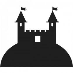 Pizarra castillo en el monte