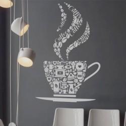 Vinilo taza de café con objetos