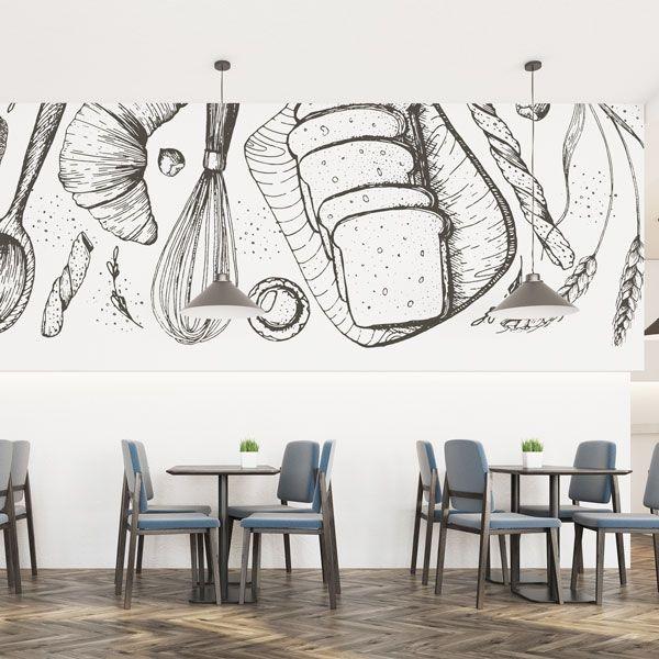 Fotomural ilustración pastelería