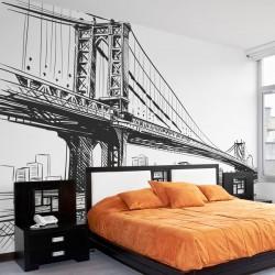 Mural ilustración puente de Brooklyn