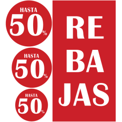 Vinilos pack cartel rebajas 50