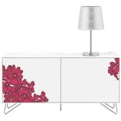 Vinilo para muebles flores rojas
