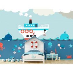 Mural infantil animales marinos