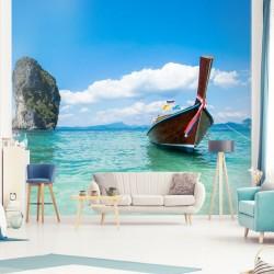 Mural barca en la playa