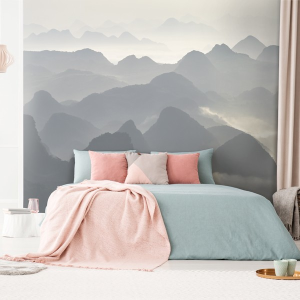 Mural montañas en blanco y negro