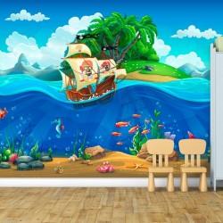 Mural de pared piratas