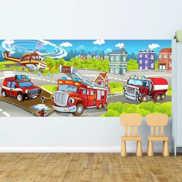 Fotomural infantil bomberos