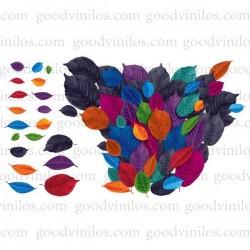 Vinilo decorativo hojas multicolores