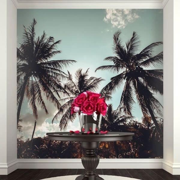 Mural de pared palmeras