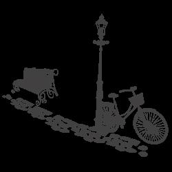 Adhesivo decorativo bici y farola