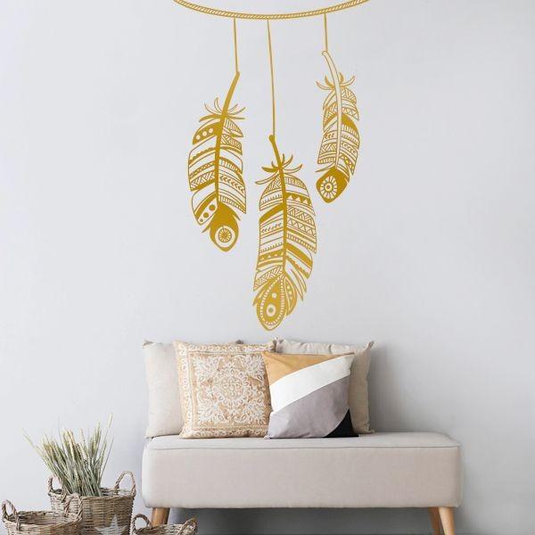 Vinilo decorativo plumas adhesivo ornamentales - Cristales decorativos para paredes ...
