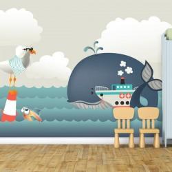 Mural infantil fondo marino