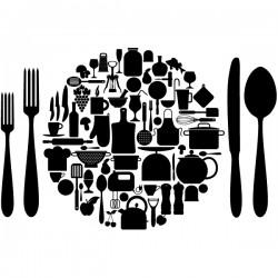 Vinilo plato y utensilios