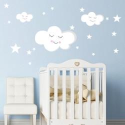 Vinilo bebé nube y estrellas