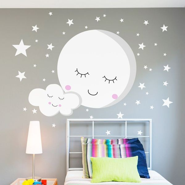 Vinilo infantil Luna y estrellas
