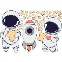 Vinilo ilustración astronautas
