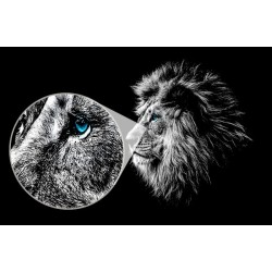 Mural León de ojos azules