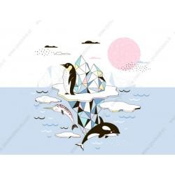 Fotomural glaciar y animales marinos