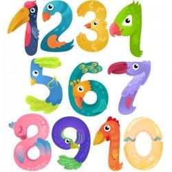 Pegatinas números y animales educativos